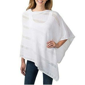 White Knit Celeste Poncho Cotton/Acrylic Blend